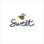 Hand drawn lettering Sweet with cartoon bee. Logo concept for honey shop, bakery, cake shop