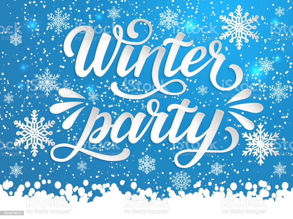 hand drawn lettering winter party elegant handwritten calligraphy