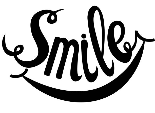 stockillustraties, clipart, cartoons en iconen met hand drawn lettering word smile - smile