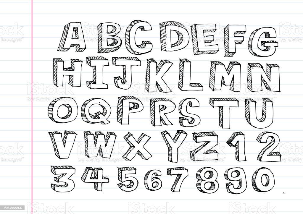 Hand drawn Buchstaben Schrift Schreiben mit einem Stift – Vektorgrafik