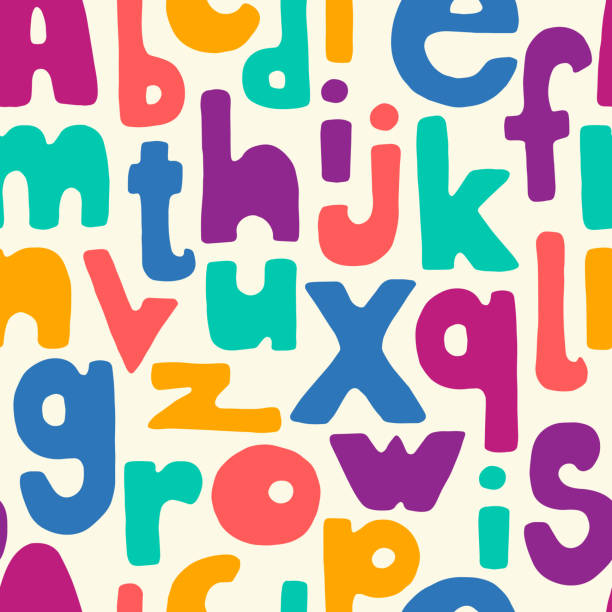 Hand drawn letters seamless pattern Bold multicolor cartoon hand drawn letters seamless pattern. Vector background colorful illustration. alphabet backgrounds stock illustrations