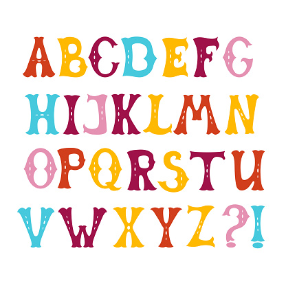 Hand drawn letters set colorful english alphabet