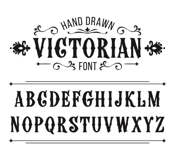 Hand drawn letters. Vector alphabet in Victorian style vector art illustration
