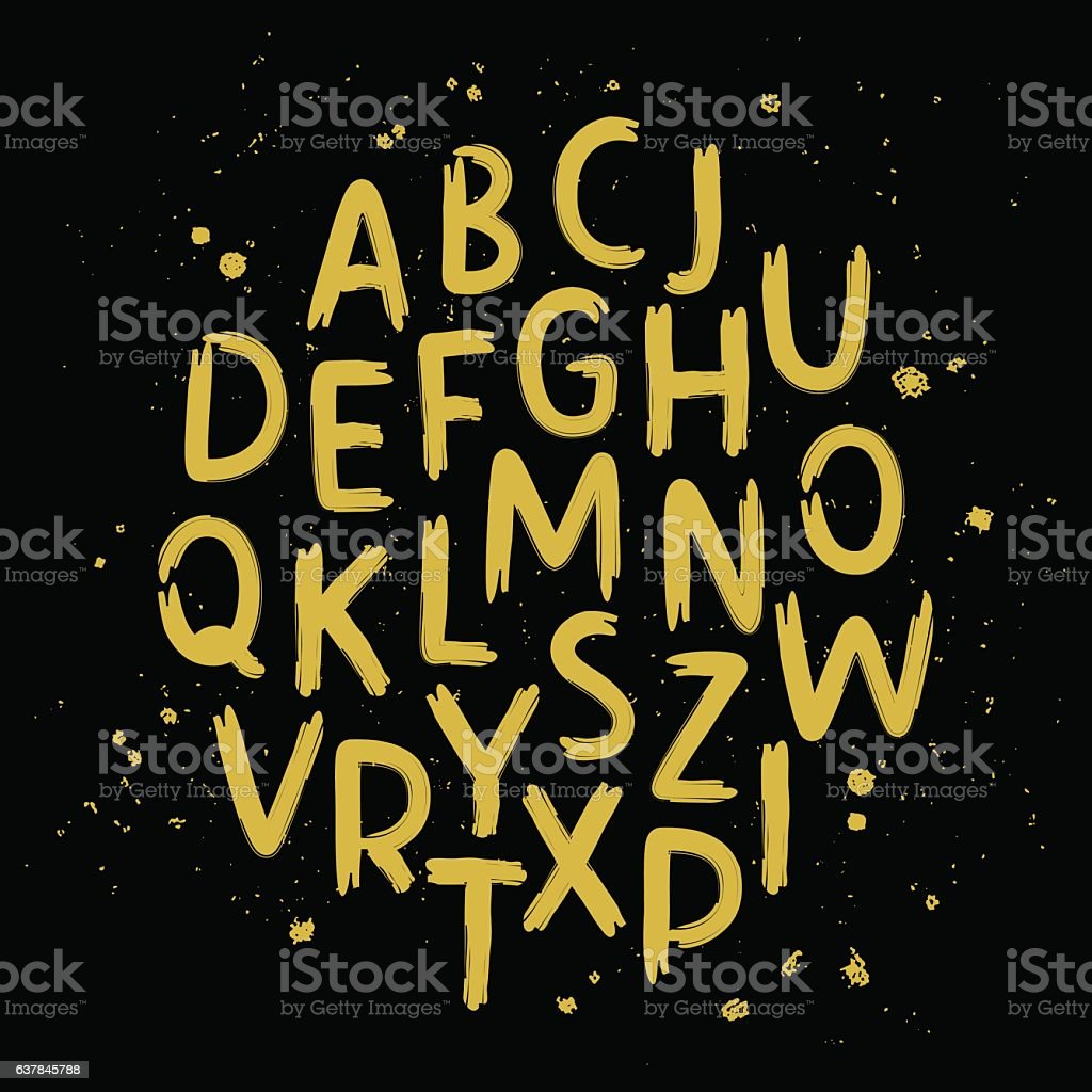 Hand drawn letters written with a brus vector art illustration