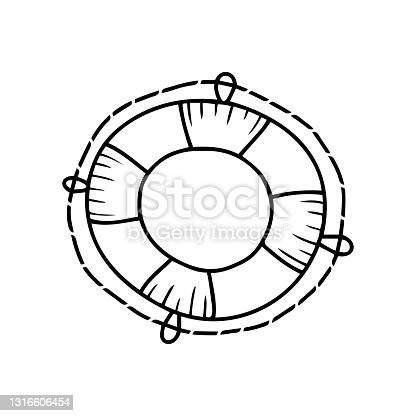 istock Hand drawn lifebuoy isolated on a white background. Doodle, simple outline illustration. It can be used for decoration of textile, paper. 1316606454