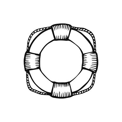Hand drawn lifebuoy vector illustration on white background