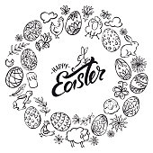 """Set of vector illustration icons in black and white showing various easter elements, with lettering """"happy easter"""" in the middle."""