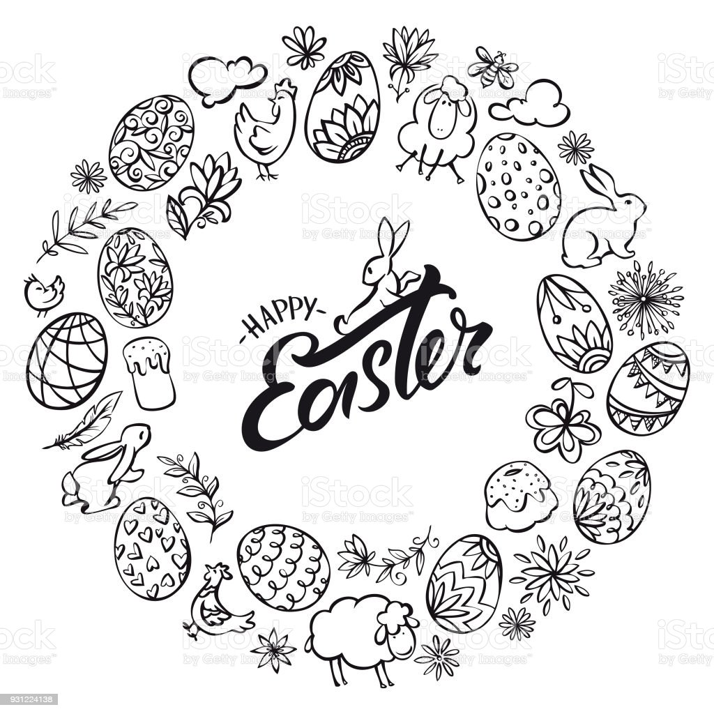 Hand drawn line art easter elements wreath vector art illustration