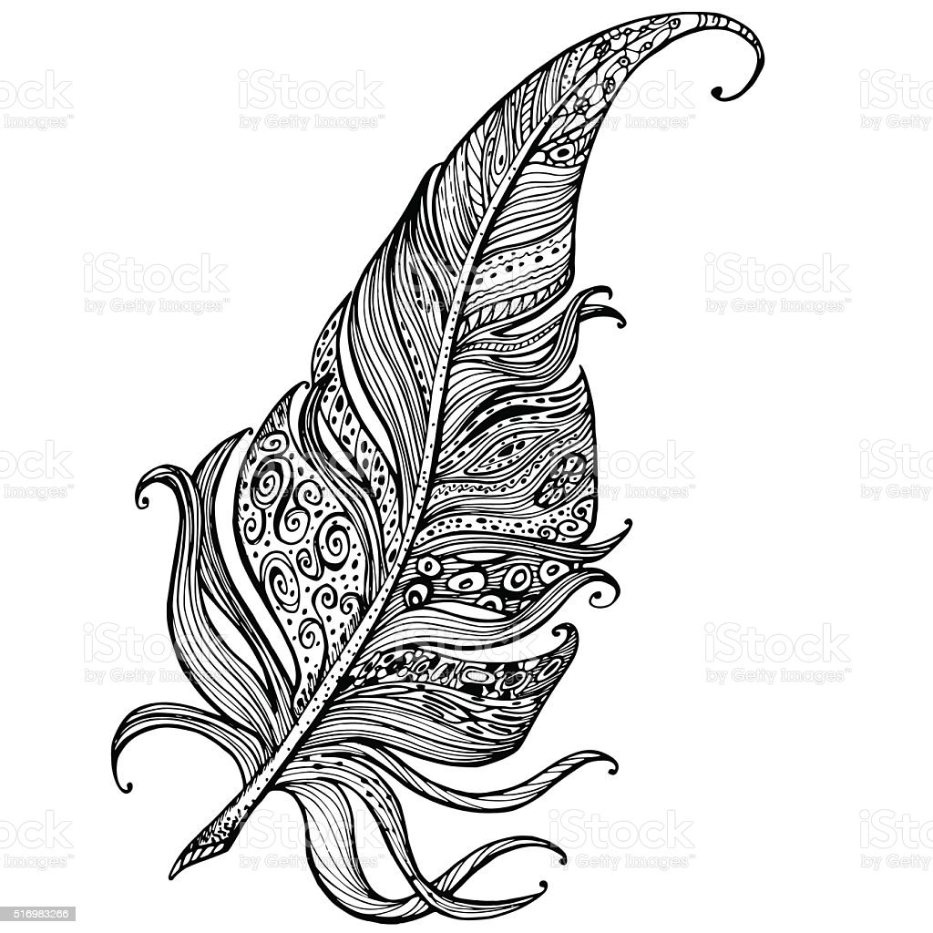 Line Art Feather : Hand drawn line art of feather with ornaments stock vector