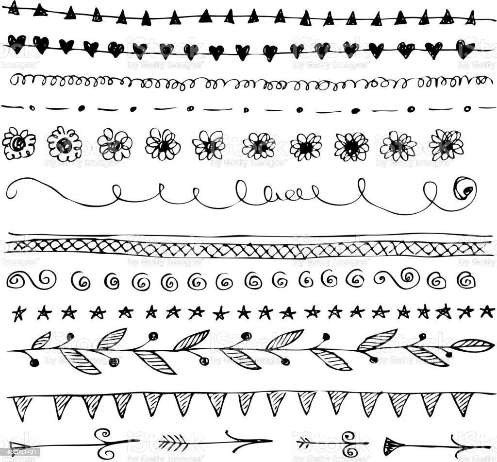 Hand Drawn Line Border Doodle Set Stock Vector Art & More ...