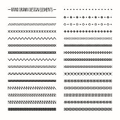 Hand drawn line border set, scribble design element. Doodle brushes.