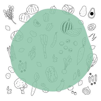 Hand drawn line drawing illustration frame of various vegetables