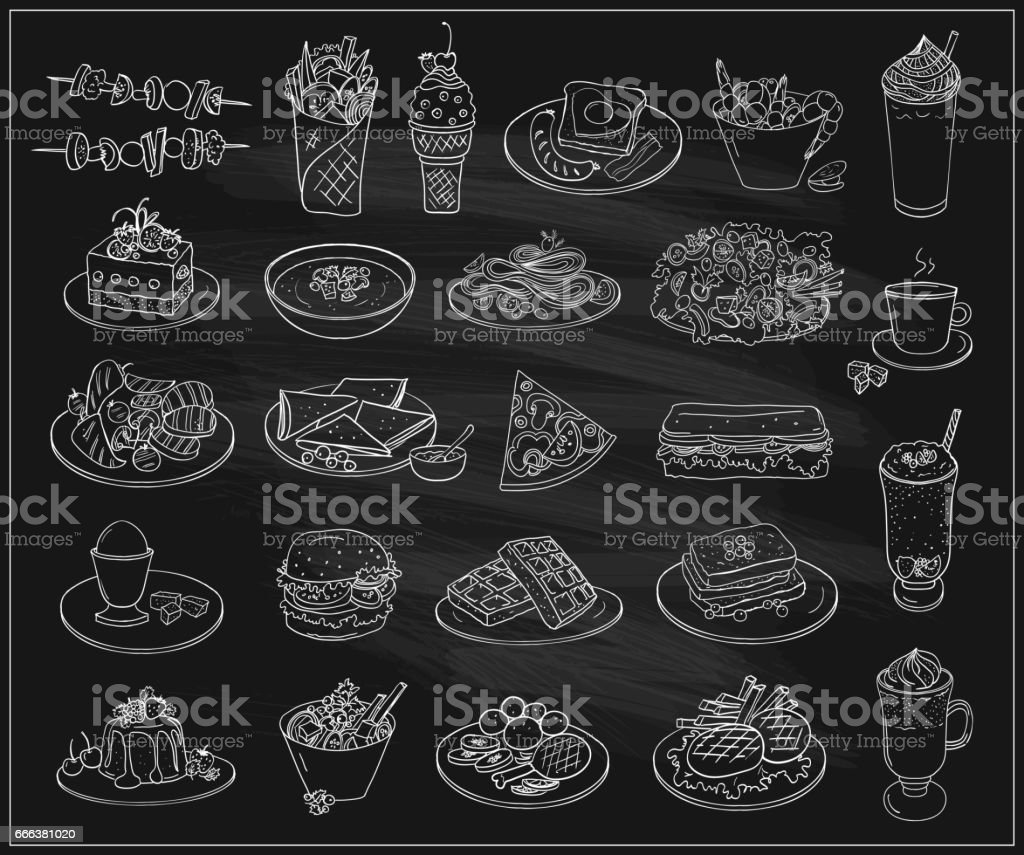 Hand drawn line graphic illustration of assorted food, desserts and drinks vector art illustration