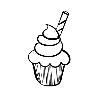 Hand drawn line icon of cupcake decorated with wafer. Outline vector illustration for logo design on white background