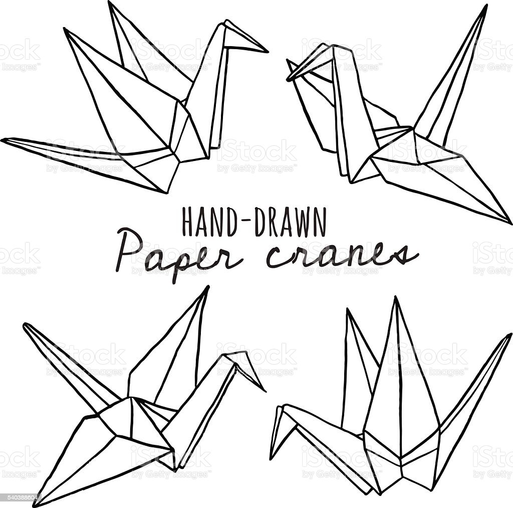 hand drawn line paper crane set stock vector art  u0026 more