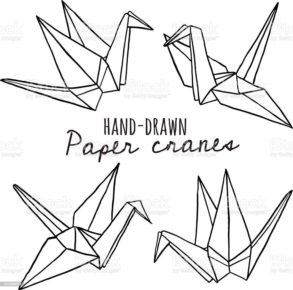Hand Drawn Line Paper Crane Set Stock Illustration Download Image