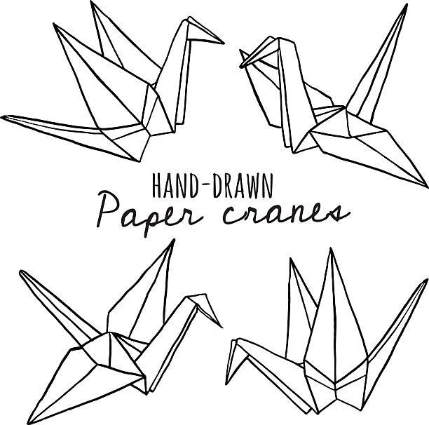 handgezeichnet linie papier-kran-set - kranich stock-grafiken, -clipart, -cartoons und -symbole