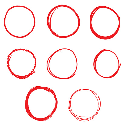 Hand Drawn Line Sketch Red Circle Set on White Background Vector Design.
