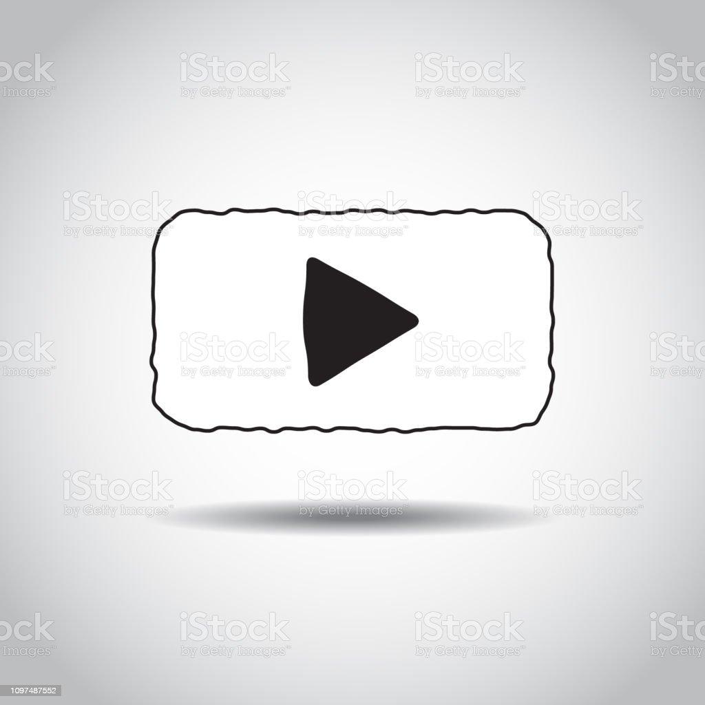 Ilustración De Reproductor De Vídeo Botón Lineal Dibujada A
