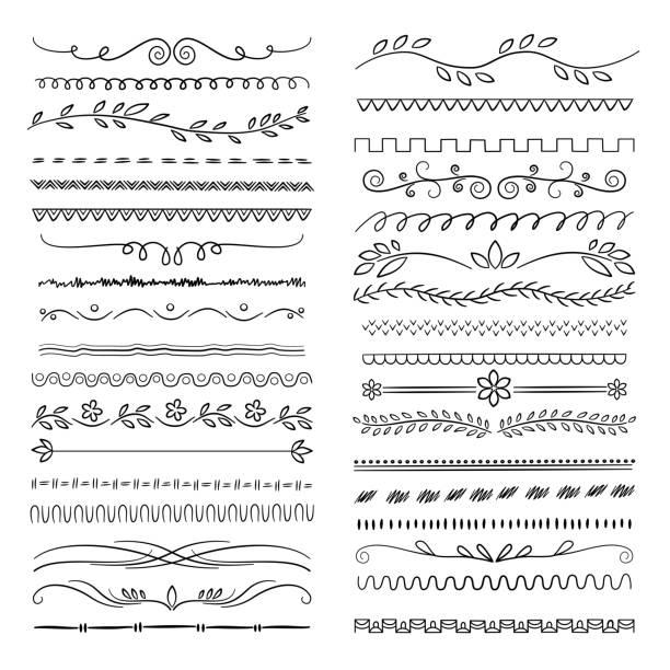 illustrazioni stock, clip art, cartoni animati e icone di tendenza di linee disegnate a mano. floral scribble ornamentale web divisori matrimonio doodle decorazione vettoriale - separazione