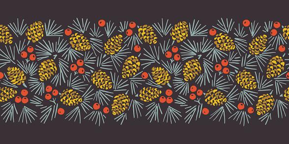 Hand Drawn Linocut Abstract Christmas Pine Cone Foliage Horizontal Vector Seamless Pattern Border
