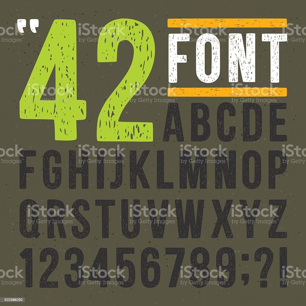 Gravure sur linoléum alphabet dessiné à la main. Vintage Vector ensemble des lettres et des chiffres - Illustration vectorielle
