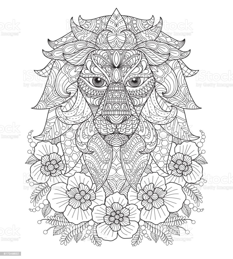 Hand Drawn Lion And Flower For Adult Coloring Page Stock