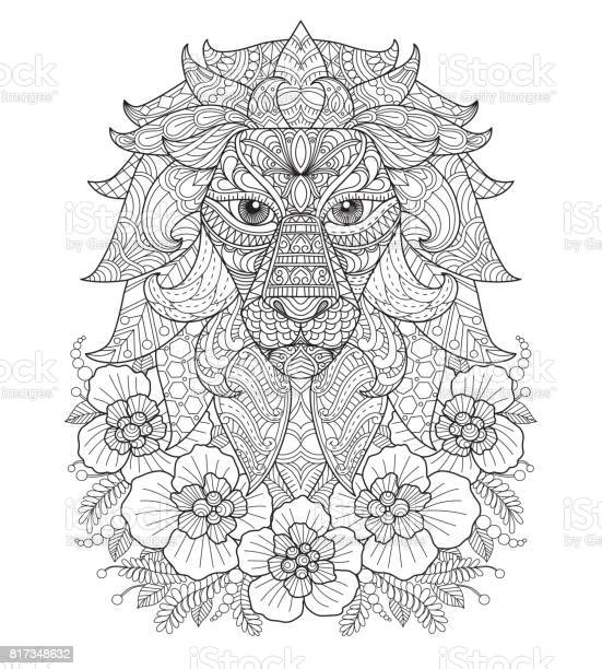 Hand drawn lion and flower for adult coloring page vector id817348632?b=1&k=6&m=817348632&s=612x612&h=psjihxhw0ikqsreetqhzvak9b1l0gcapoao2n1ik 7g=