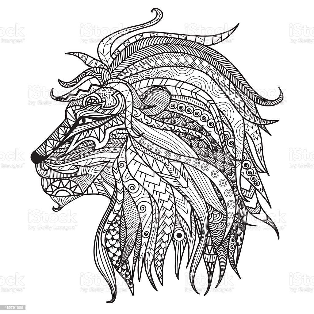 Hand drawn lion coloring page. vector art illustration