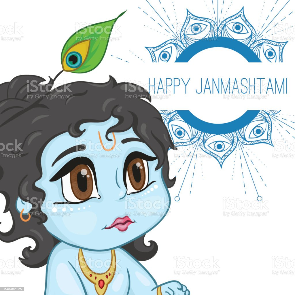 Hand drawn little baby god Krishna in anime style. With vector art illustration