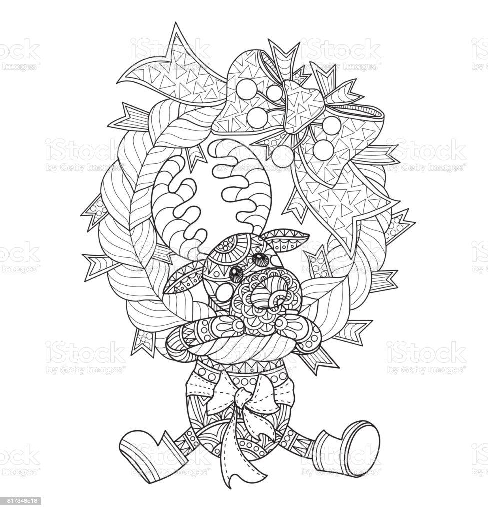Handgezeichnete Kleine Hirsche Und Der Adventskranz Für Erwachsene