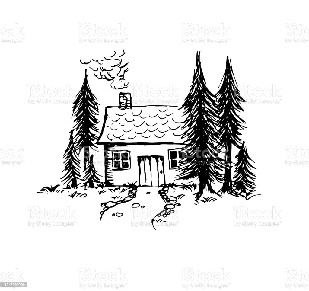 Hand drawn little house in the forest vector