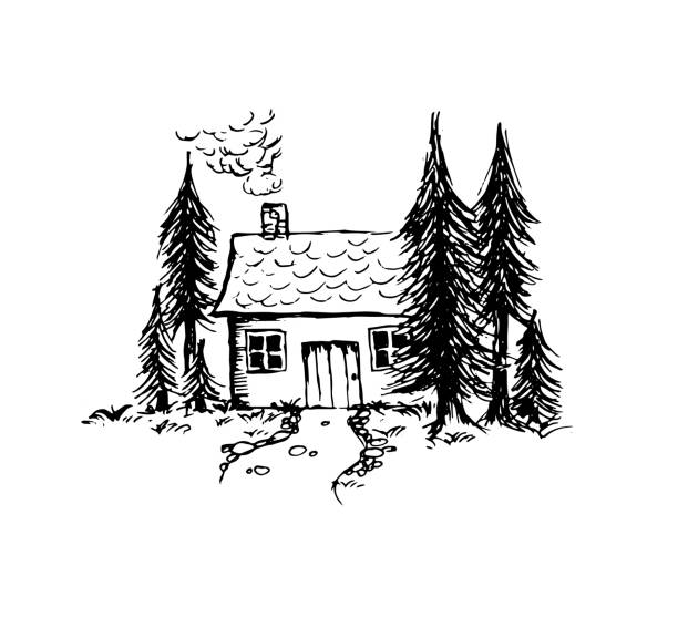 hand drawn little house in the forest vector - log cabin stock illustrations, clip art, cartoons, & icons