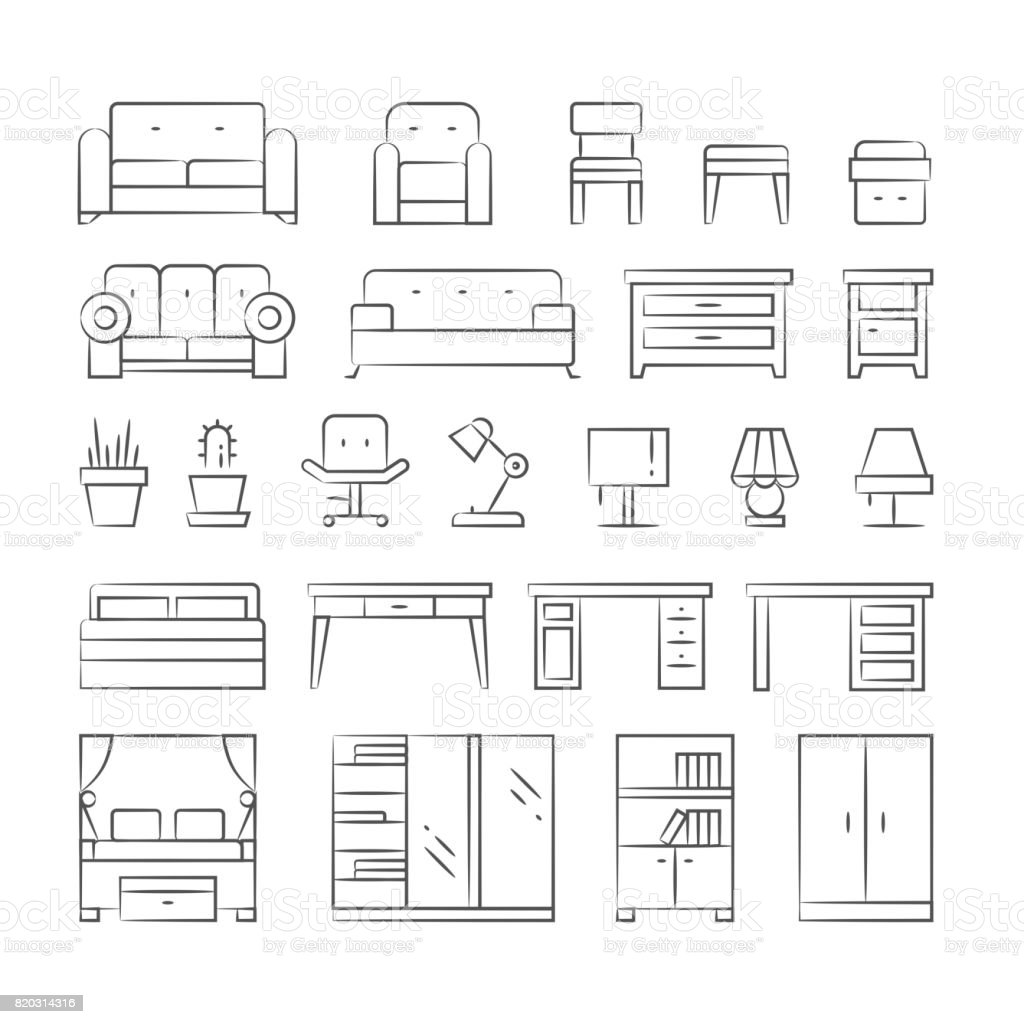 hand drawn living room furniture icons on white background royaltyfree stock vector art