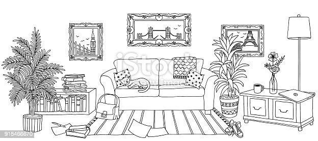 Hand drawn illustration of a living room, interior design with couch, plants and cupboards