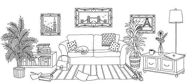 Hand drawn living room interior
