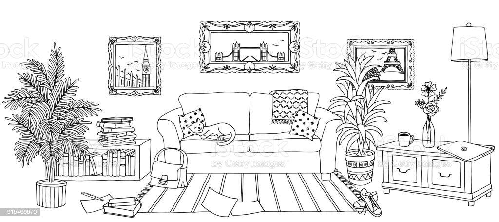 Hand drawn living room interior vector art illustration