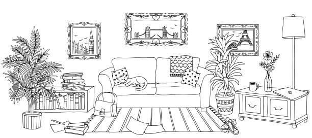 bildbanksillustrationer, clip art samt tecknat material och ikoner med hand dras vardagsrum inredning - katt inomhus