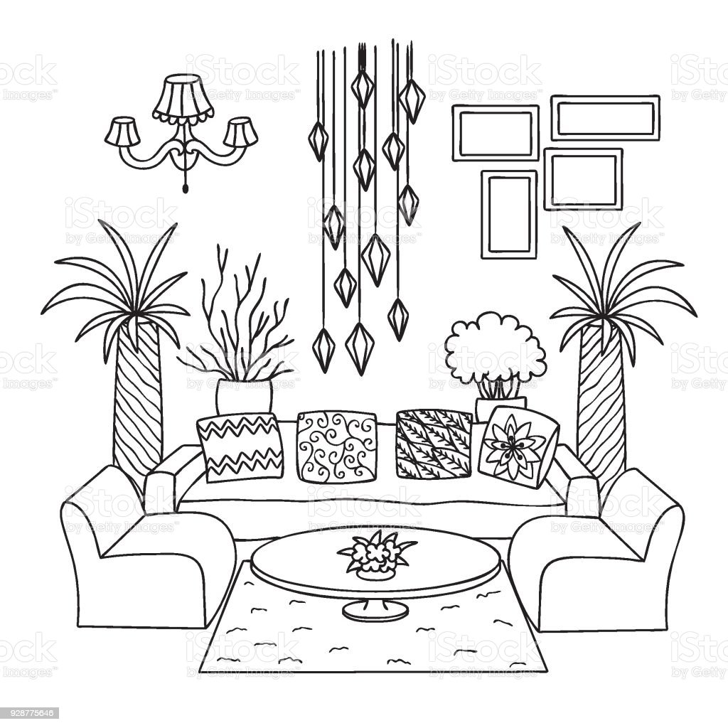 Hand Drawn Living Room Stock Vector Art & More Images Of