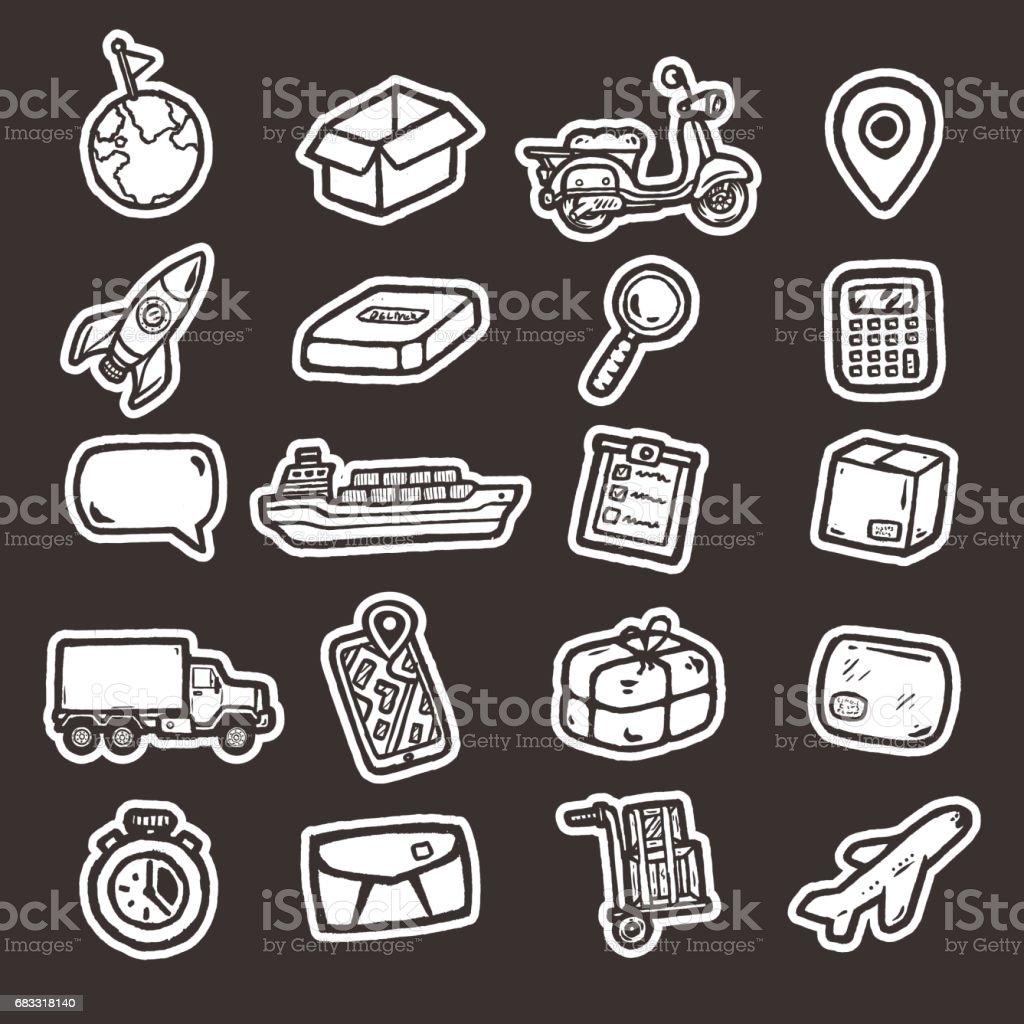 Hand getrokken logistieke pictogrammen. royalty free hand getrokken logistieke pictogrammen stockvectorkunst en meer beelden van achtergrond - thema