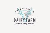 Hand drawn logo cow head silhouette and modern vintage typography retro style vector illustration. Logotype for dairy milk emblem, farm meat market packaging and restaurant menu decoration.