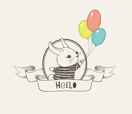 Hand drawn logo or badge with cute little bunny dressed in striped t-shirt holding colorful balloons inside round frame and elegant ribbon with Hello inscription. Vector illustration in vintage style.