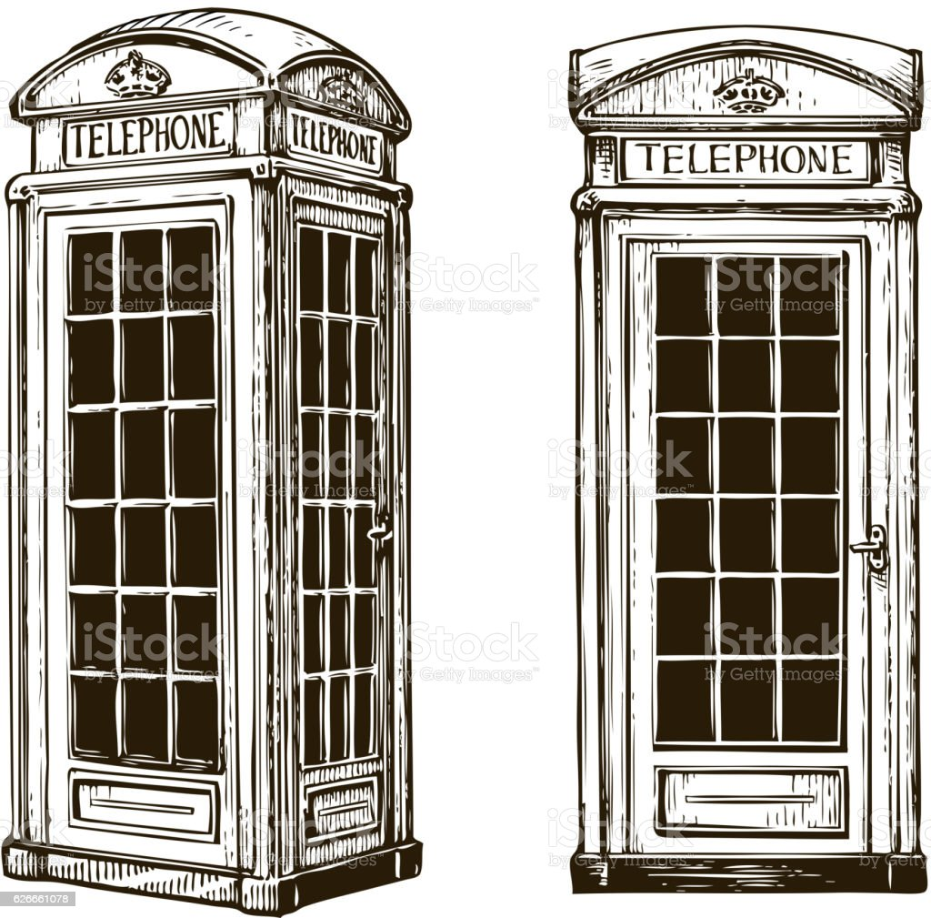Hand drawn London phone booth. Sketch vector illustration vector art illustration