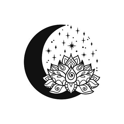Hand drawn lotus flower and half moon. Mystic spiritual design.