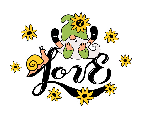 Hand drawn Love and adorable summer gnome with flowers.