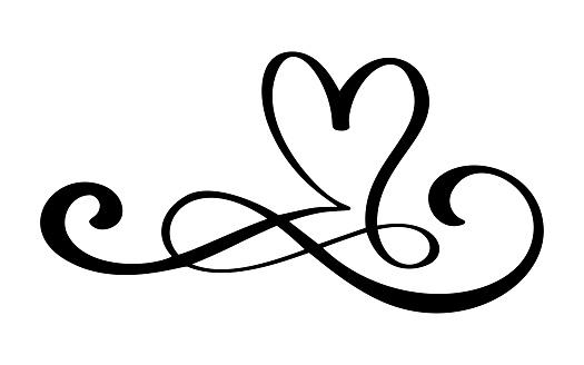 Hand drawn love border flourish heart separator Calligraphy designer elements. Vector vintage wedding, valentines day illustration Isolated on white background
