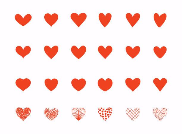 illustrations, cliparts, dessins animés et icônes de collection de coeur d'amour dessinée à la main. éléments de conception pour la saint-valentin. - coeur
