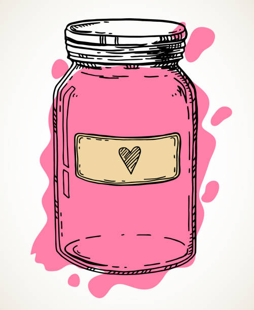 ilustrações de stock, clip art, desenhos animados e ícones de hand drawn love jar - jam jar