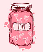 Pink vintage glass jar full of love. Valentine hearts romantic vector hand drawn illustration. Contour sketch isolated.