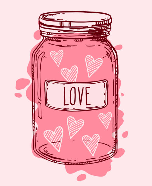Hand drawn love jar Pink vintage glass jar full of love. Valentine hearts romantic vector hand drawn illustration. Contour sketch isolated. jar stock illustrations